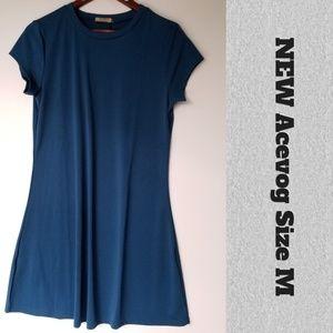 NEW Acevog Teal Tee Polyester Spandex Dress M